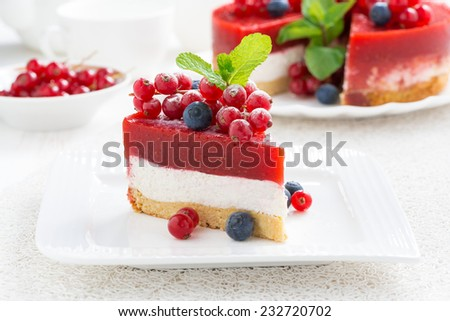 piece of cheesecake with berry jelly, horizontal - stock photo