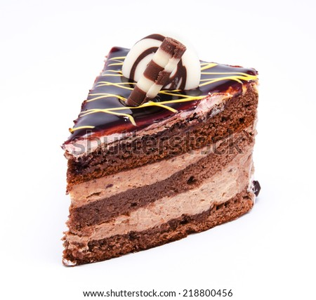 Piece of chocolate cake isolated on a white background