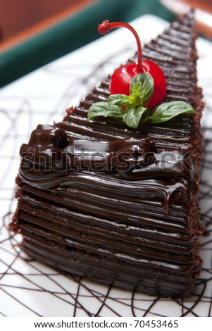Piece of chocolate cake whit cherry