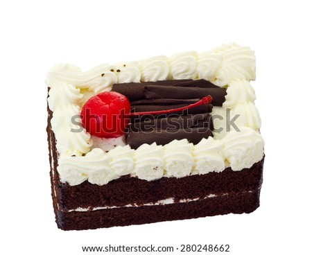 Piece of chocolate cake with red cherry topping, isolated on white background and clipping path - stock photo