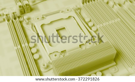piece of computer hardware element,  3d render of motherboard circuit - stock photo