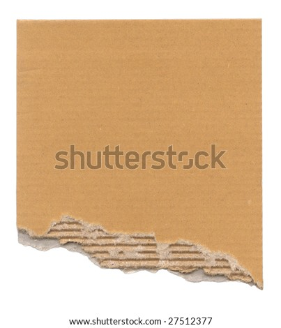 Piece of corrugated cardboard with torn edge. Isolated on white. - stock photo