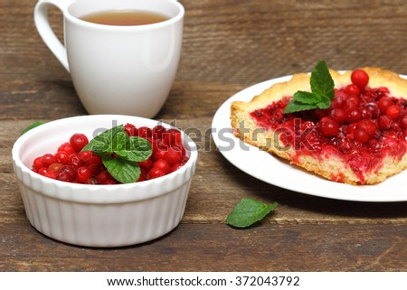 Piece of cranberry cake with cup of cranberry on background - stock photo
