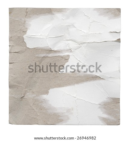 Piece of crumpled cardboard. Isolated on white. Clipping path included. - stock photo