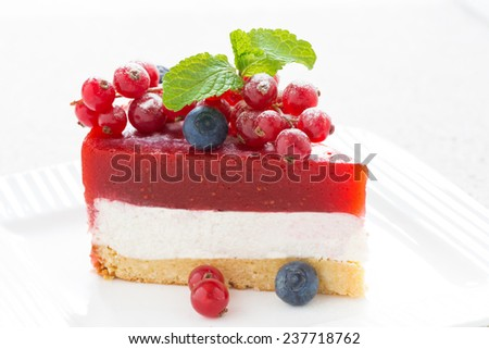 piece of delicious cheesecake with berry jelly on a white plate, close-up, horizontal - stock photo