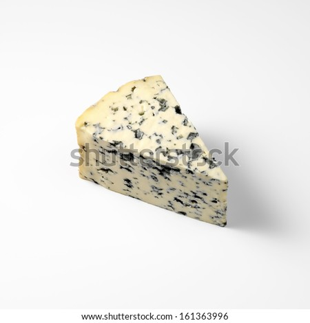 Piece of French blue cheese isolated - stock photo