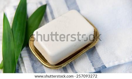 Piece of Fresh Artisan Soap on Counter - stock photo