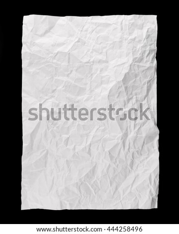 Piece of full page white paper background, folded and battered, isolated on black background - stock photo