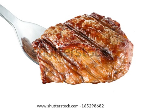 Piece of grilled meat. Rib-eye steak on fork. White background