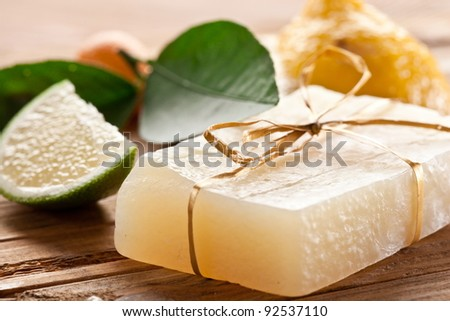 Piece of handmade lemon soap.