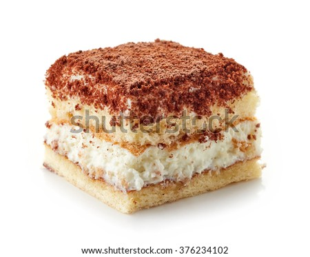 piece of homemade cake isolated on white background - stock photo