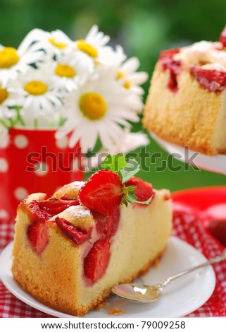 piece of homemade cake with strawberries on the table in garden - stock photo