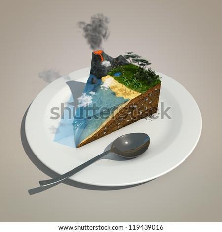 piece of land like a cake on a plate - stock photo
