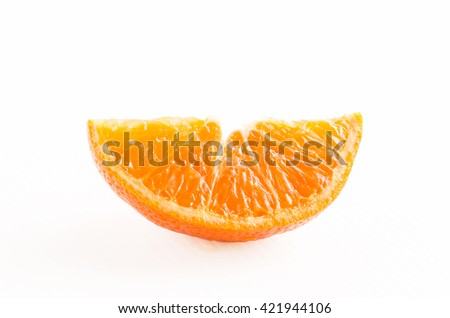 piece of mandarin fruit with clipping path - stock photo
