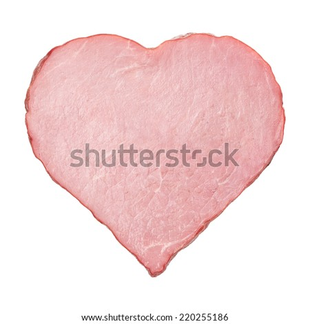 piece of meat in the shape of heart on a white background - stock photo