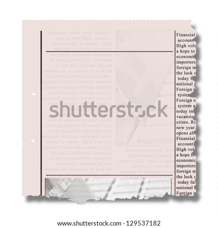 piece of newspaper with torned eadges and copy space - stock photo