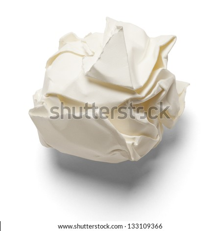 Piece of paper smashed up and isolated on a white background.