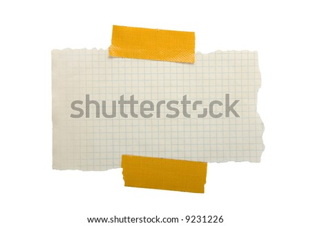 Piece of paper stuck with a yellow tape - stock photo