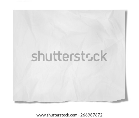 Piece of paper with empty space isolated on white - stock photo