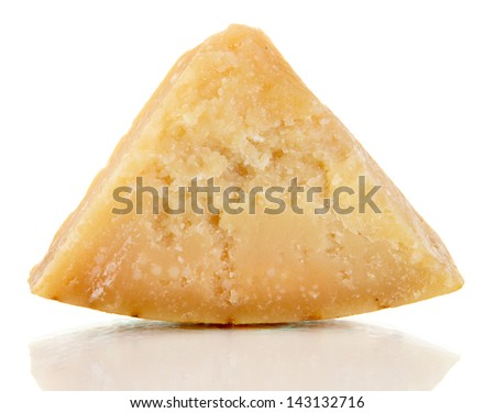 Piece of Parmesan cheese isolated on white - stock photo