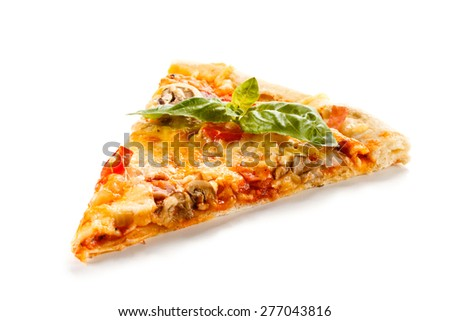 Piece of pizza on white background  - stock photo