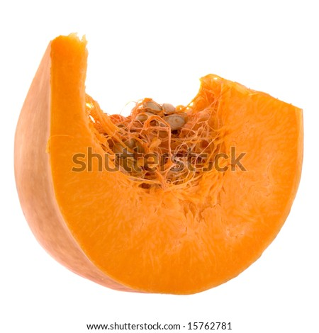 Piece of pumpkin isolated on white - stock photo