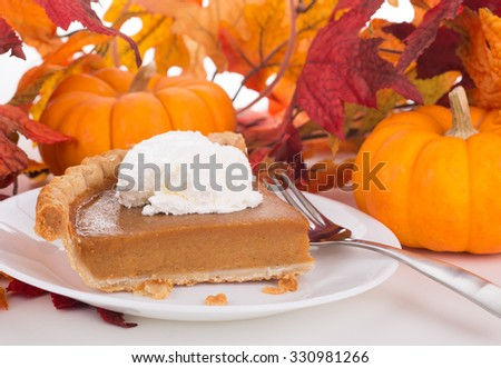 Piece of pumpkin pie with whipped topping on autumn background - stock photo