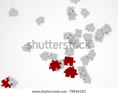 piece of puzzle isolated on white background - stock photo
