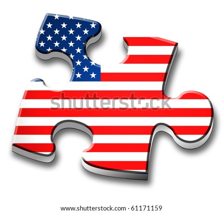 Piece of puzzle with the US flag. - stock photo