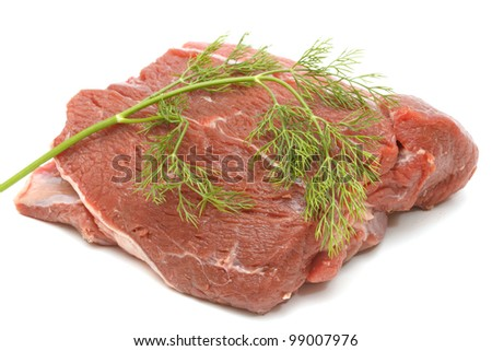 Piece of raw beef isolated on white background - stock photo
