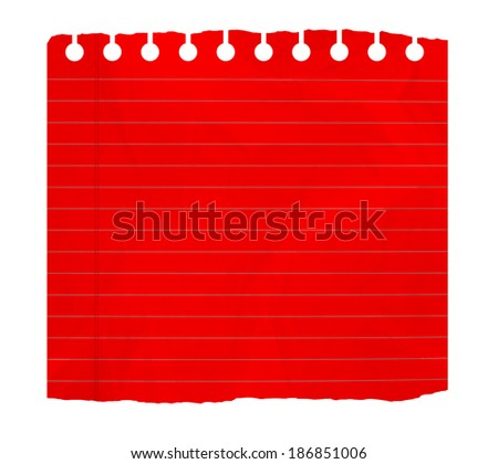 Piece of red  notebook sheet  isolated on white - stock photo