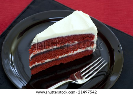 Piece of red velvet cake. - stock photo