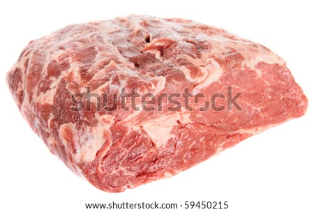 Piece of ribeye isolated over white background