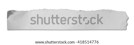 piece of ripped white paper on white background with clipping path. - stock photo