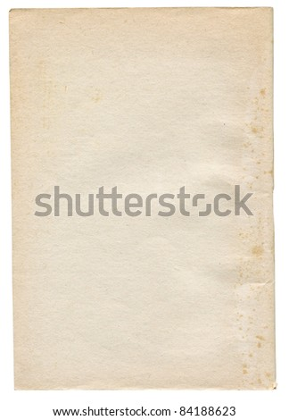 piece of rough very paper isolated on white background - stock photo