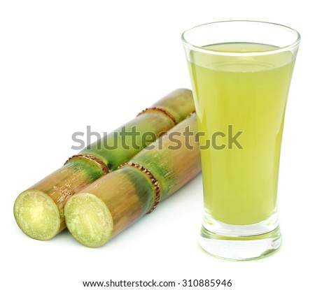 Piece of sugarcane juice over white background - stock photo