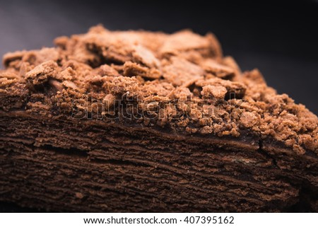 piece of tasty chocolate cake