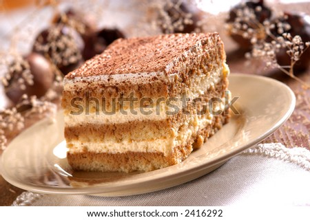 Piece of tiramisu cream and custard pastry