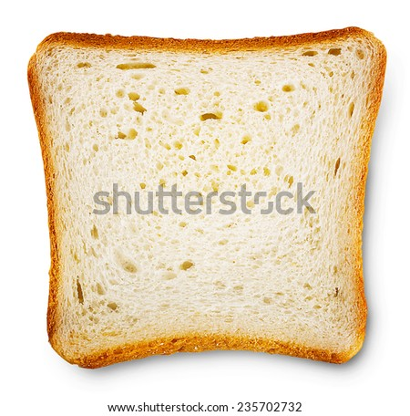 Piece of toast bread isolated on white background - stock photo