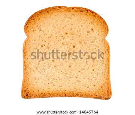 Piece of toast isolated on white. Close-up - stock photo