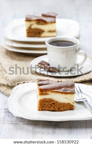 Piece of toffee and vanilla cake