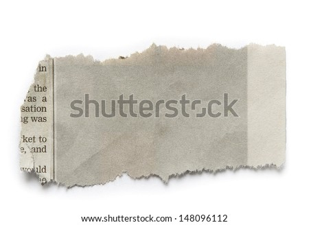 Piece of torn paper isolated on plain background. Copy space - stock photo