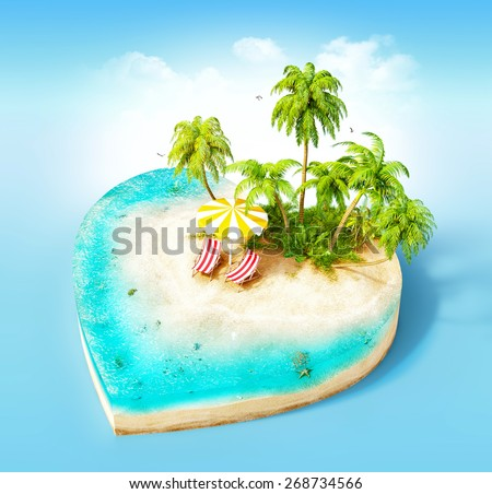 Piece of tropical island with water, chairs, umbrella and palms on a beach in cross section in shape of heart.  Unusual travel illustration - stock photo