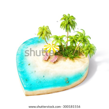 Piece of tropical island with water, chairs, umbrella and palms on a beach in cross section in shape of heart.  Unusual travel illustration. Isolated on white - stock photo