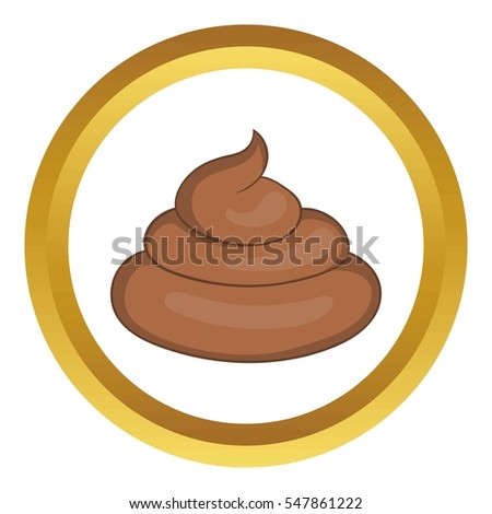 Piece of turd  icon in golden circle, cartoon style isolated on white background