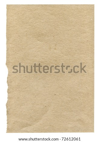 piece of very rough paper isolated on white background, one edge is frayed - stock photo