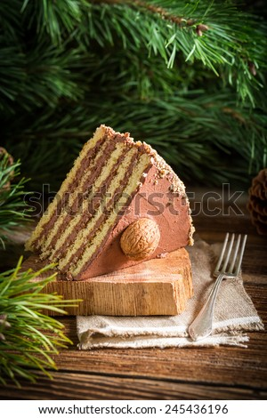 Piece of walnut cake served in forest - stock photo
