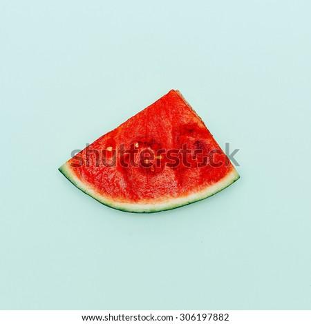 Piece of Watermelon. Vanilla Fruit. Minimal style - stock photo