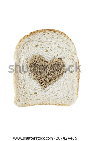 Piece of white bread with brown heart isolated over white