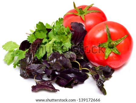 piece tomato and herb basil , parsley , isolated on white - stock photo